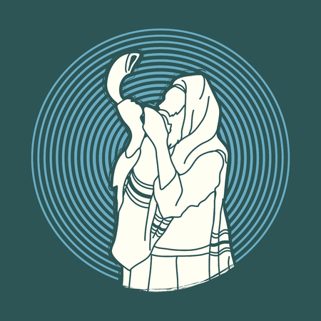 yom: Jew blowing the shofar sheep horn on circle light background graphic vector. Illustration