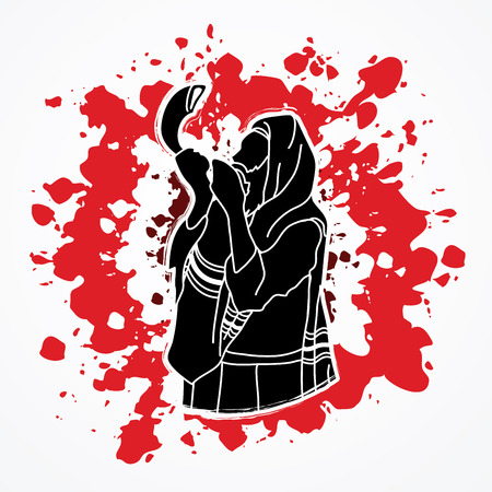 talit: Jew blowing the shofar sheep horn on splatter blood background graphic vector.