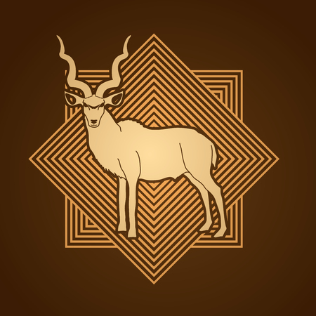 screen printing: Kudu standing designed on line square background graphic .