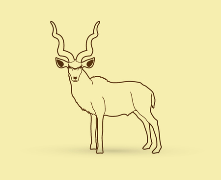 Kudu standing designed using outline graphic .