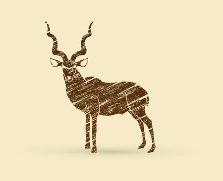 Kudu standing designed using brown grunge brush graphic .
