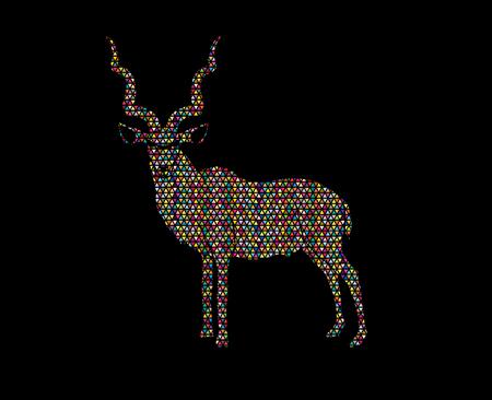 screen printing: Kudu standing designed using colorful mosaic graphic . Illustration