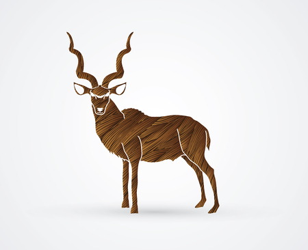 screen printing: Kudu standing designed using brown grunge brush graphic .