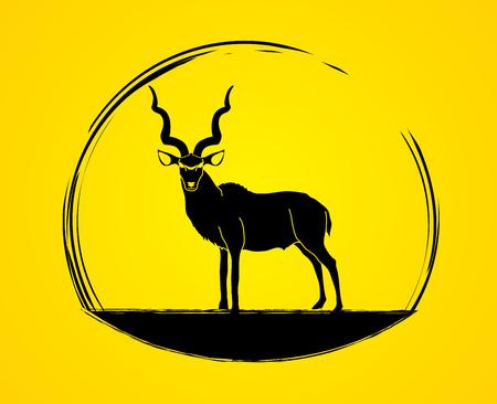 screen printing: Kudu standing designed using black brush graphic .