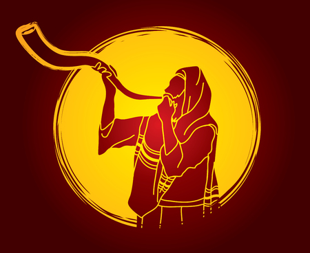 talit: Jew blowing the shofar sheep kudu horn on moonlight background graphic .