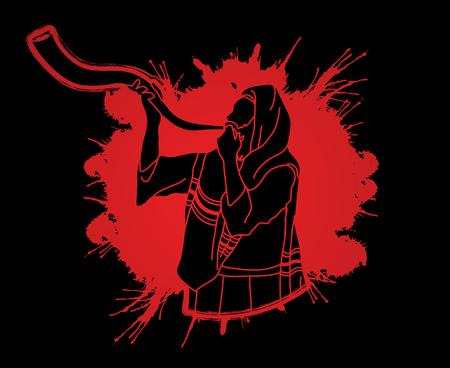 talit: Jew blowing the shofar sheep kudu horn on splatter blood background graphic . Illustration