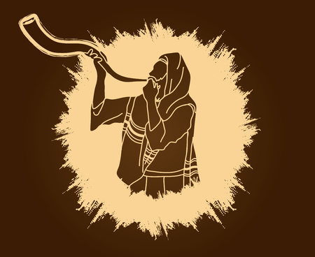 Jew blowing the shofar sheep kudu horn on grunge frame background graphic .