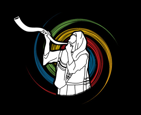 Jew blowing the shofar sheep kudu horn on spin wheel background graphic .