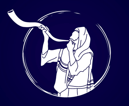 Jew blowing the shofar sheep kudu horn graphic .