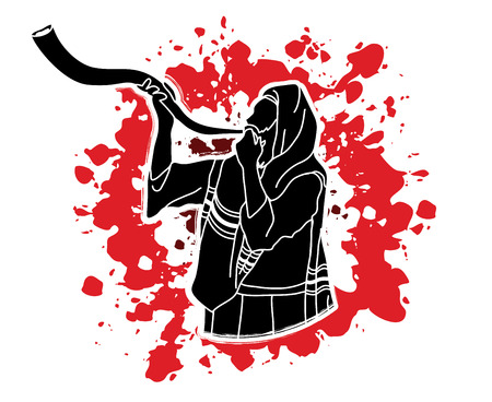 Jew blowing the shofar sheep kudu horn on splash blood background graphic . Illustration