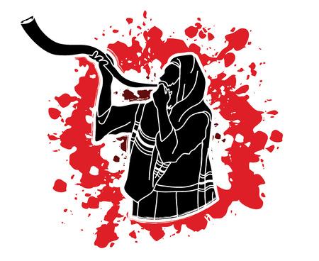 yom: Jew blowing the shofar sheep kudu horn on splash blood background graphic . Illustration