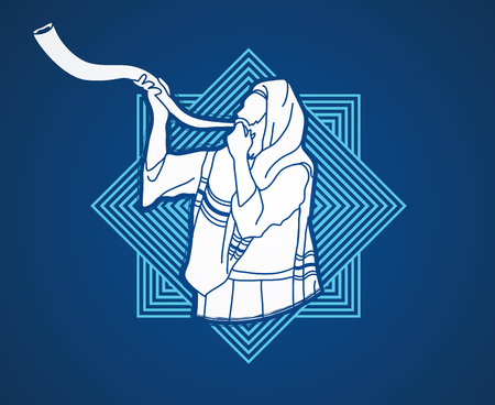 talit: Jew blowing the shofar sheep kudu horn on line square background graphic . Illustration