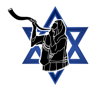 Jew blowing the shofar sheep kudu horn on Israel star background graphic .