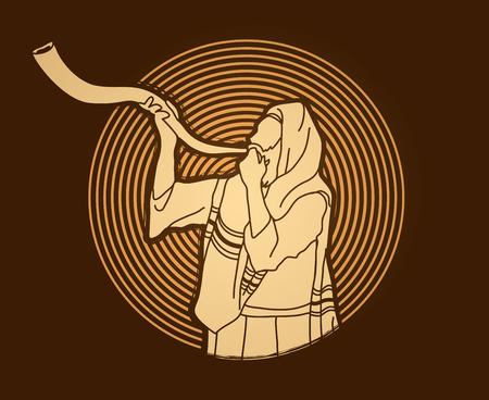 Jew blowing the shofar sheep kudu horn on circle light background graphic .