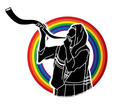 Jew blowing the shofar sheep kudu horn on rainbows background graphic .