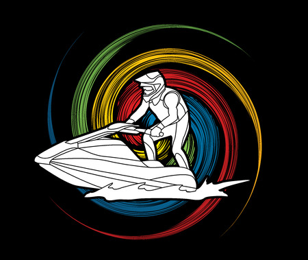 spin: Jet ski action designed on spin wheel background graphic vector.