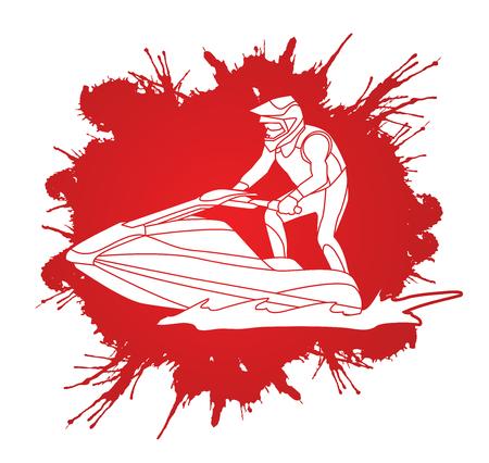 Jet ski action designed on splash ink background graphic vector.