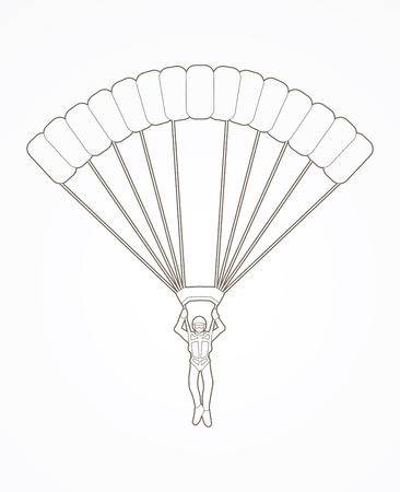 Parachuting silhouette outline graphic vector
