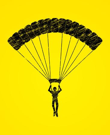 airplay: Parachuting silhouette designed using grunge brush graphic vector Illustration