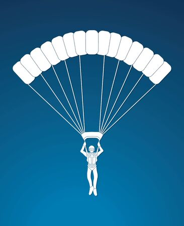 Parachuting silhouette graphic vector in blue
