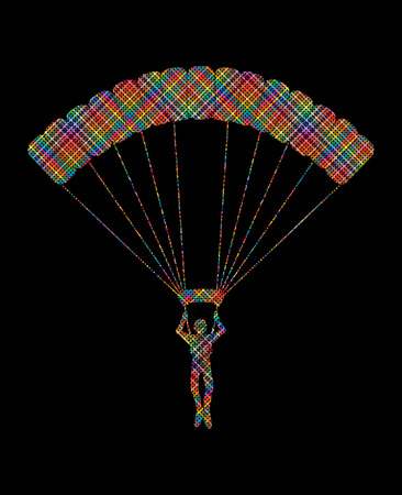 Parachuting silhouette designed using colorful pixels graphic vector Illustration