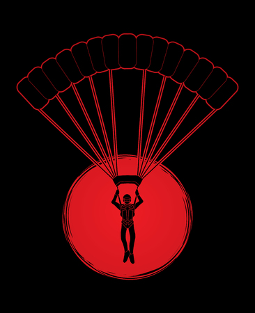 airplay: Parachuting silhouette designed on sunlight background graphic vector