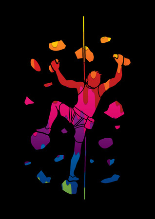 Man climbing on the wall designed using melting colors graphic vector.