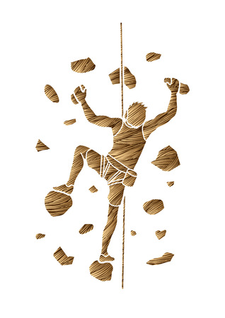Man climbing on the wall designed using grunge brown brush graphic vector. Vetores