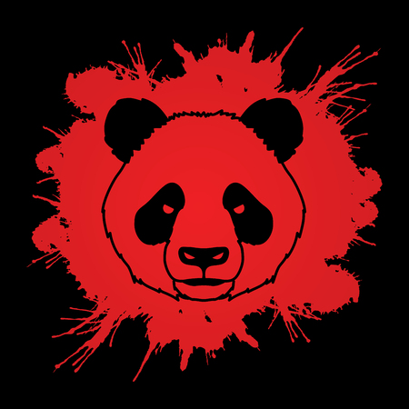 Panda head face front view designed on splash blood background graphic vector. Illustration