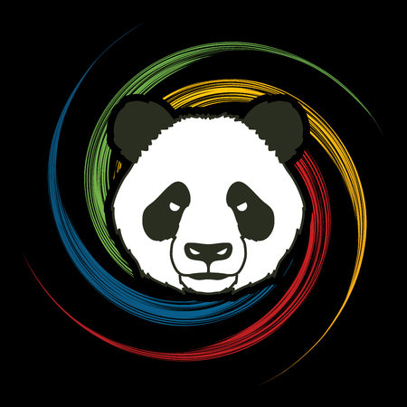 spin: Panda head face front view designed on spin wheel background graphic vector. Illustration