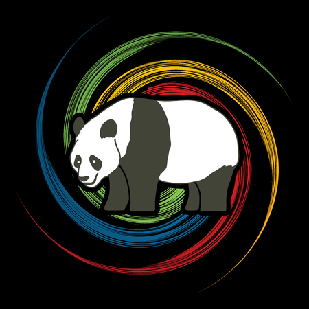 spin: Panda standing side view designed on spin wheel background graphic vector. Illustration