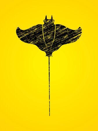 Stingray fish, Batoids fish designed using black grunge brush graphic vector. Illustration