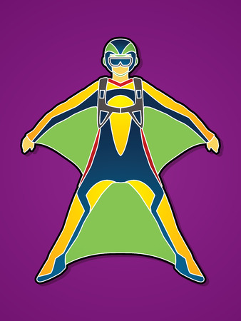 screen printing: Wing suit extreme sports graphic vector