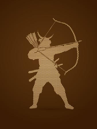 Samurai Warrior with bow designed using geometric pattern graphic vector. Illustration