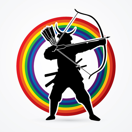 Samurai Warrior with bow designed on rainbows background graphic vector.