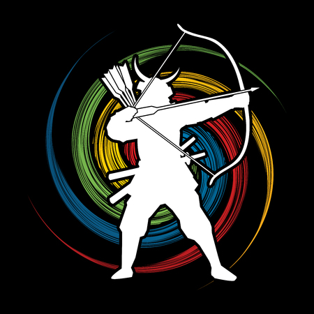 spin: Samurai Warrior with bow designed on spin wheel background graphic vector.
