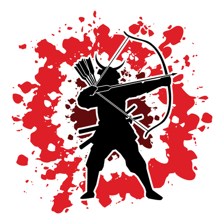 Samurai Warrior with bow designed on splatter blood background graphic vector.