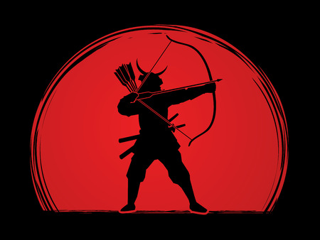 Samurai Warrior with bow designed on sunrise background graphic vector.