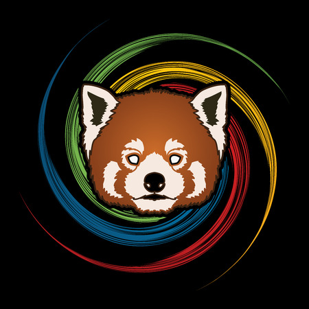 wheel spin: Red Panda Face head designed on spin wheel background graphic vector. Illustration