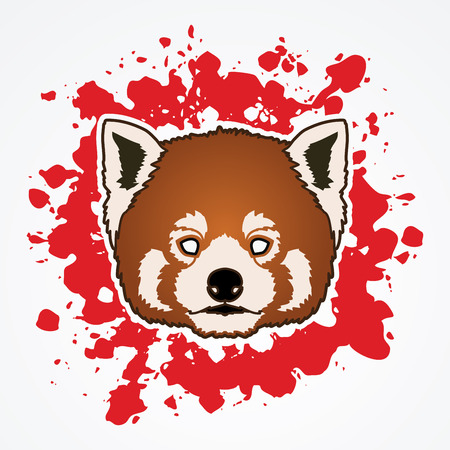 screen printing: Red Panda Face head designed on splatter blood background graphic vector.