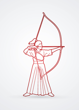 Woman bowing Kyudo outline graphic vector. Illustration