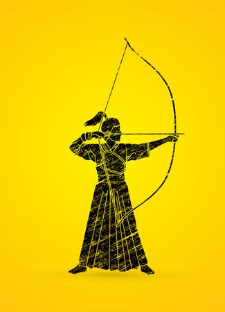 Woman bowing Kyudo designed using black grunge brush graphic vector.