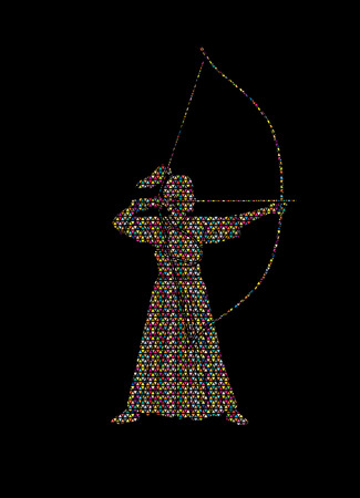 Woman bowing Kyudo designed using colorful mosaic pattern graphic vector.