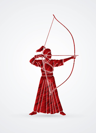 Woman bowing Kyudo designed using grunge red brush graphic vector.