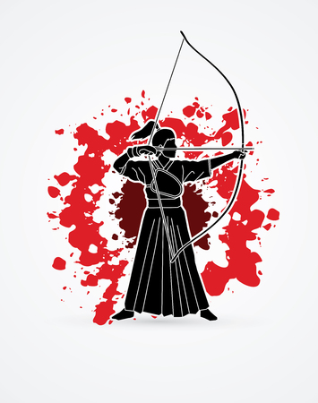 Woman bowing Kyudo designed on splatter blood background graphic vector.