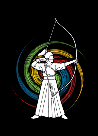 Woman bowing Kyudo designed on spin wheel background graphic vector.