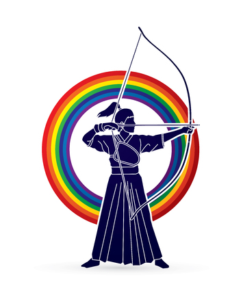 Woman bowing Kyudo designed on rainbows background graphic vector. Illustration