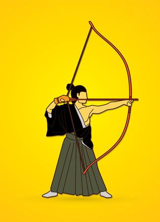 Man bowing Kyudo graphic vector.