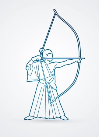 bowman: Man bowing Kyudo outline graphic vector.