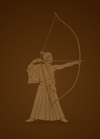 Man bowing Kyudo designed using dots pixels graphic vector.